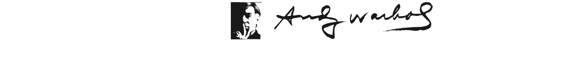 Andy Warhol Foundation for the Visual Arts Logo - two-tone portrait of Warhol and his signature - 4