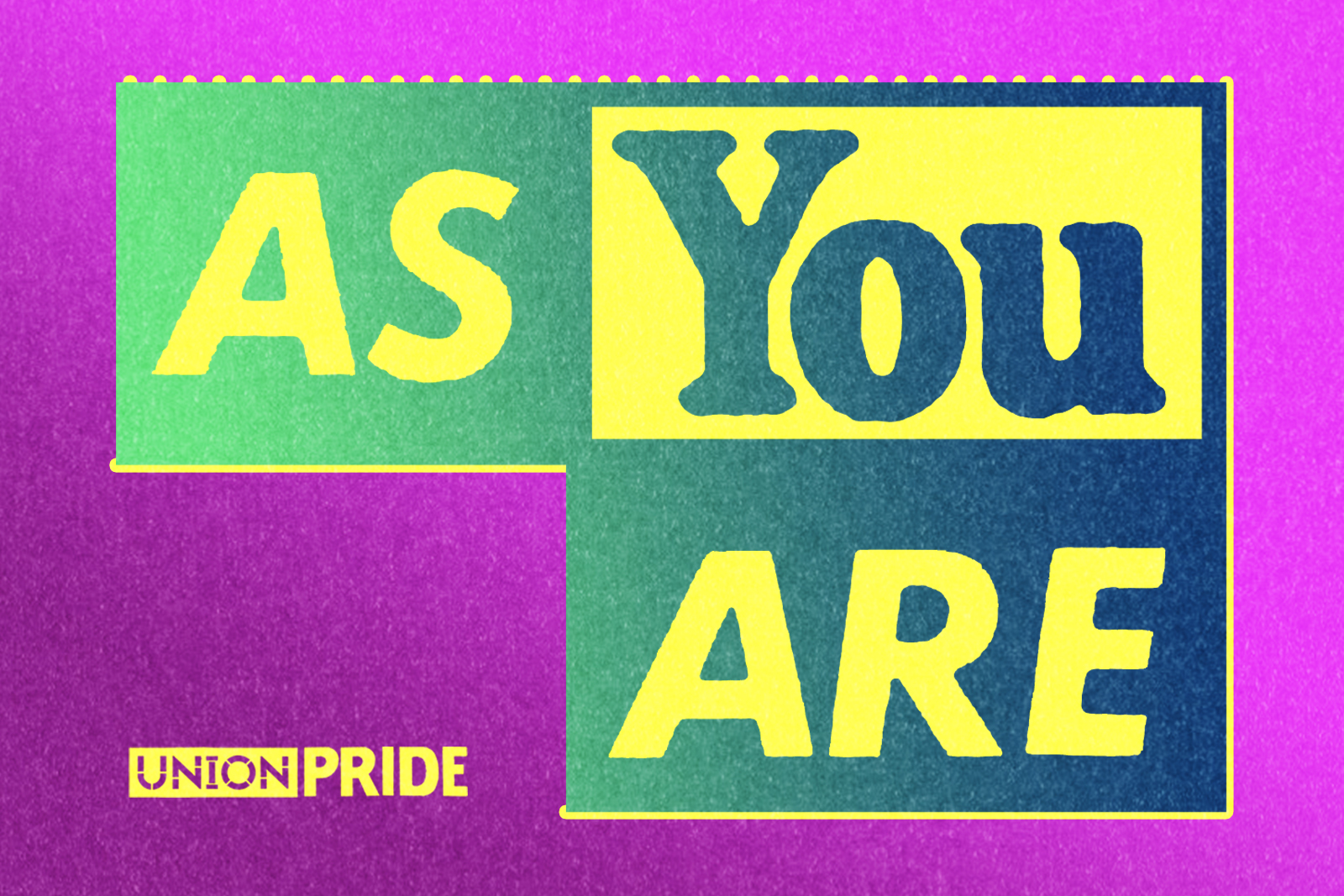 As You Are Logo in yellow and blue against a purple background