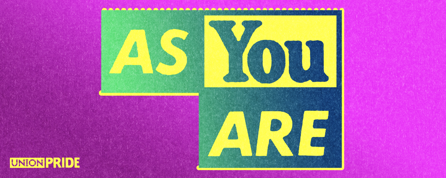 As You Are green and yellow text against a magenta background