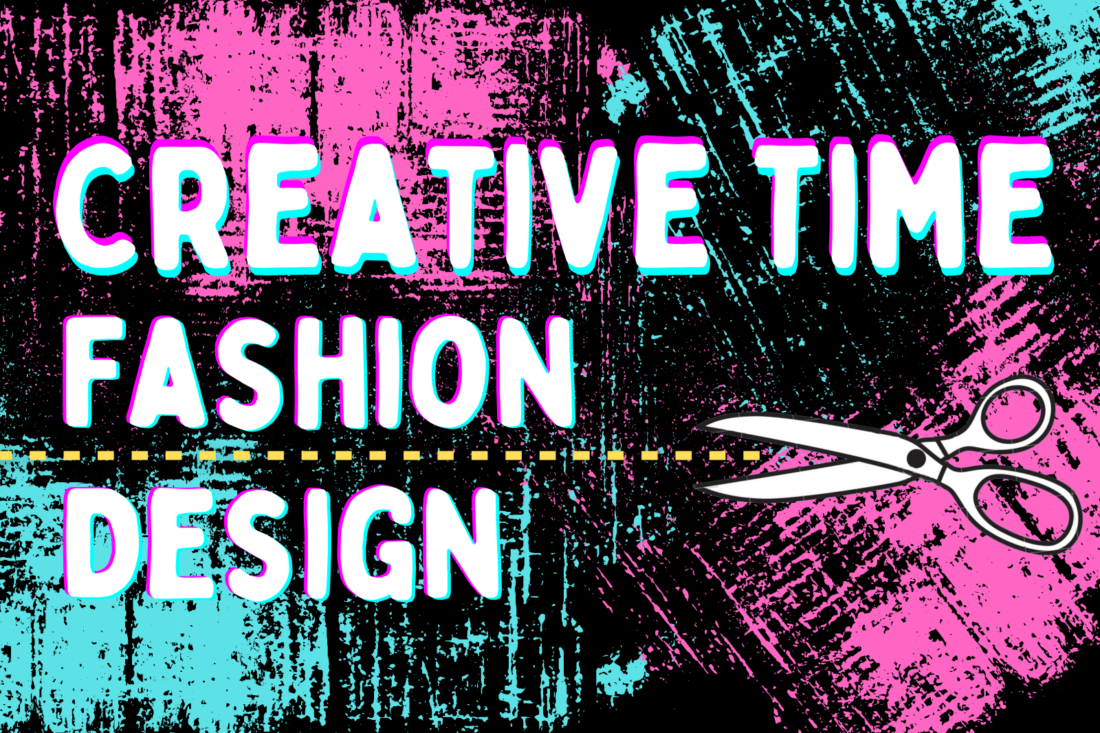Creative time fashion design graphic with pink and blue bakground and scisorrs illustration following a yellow dotted line