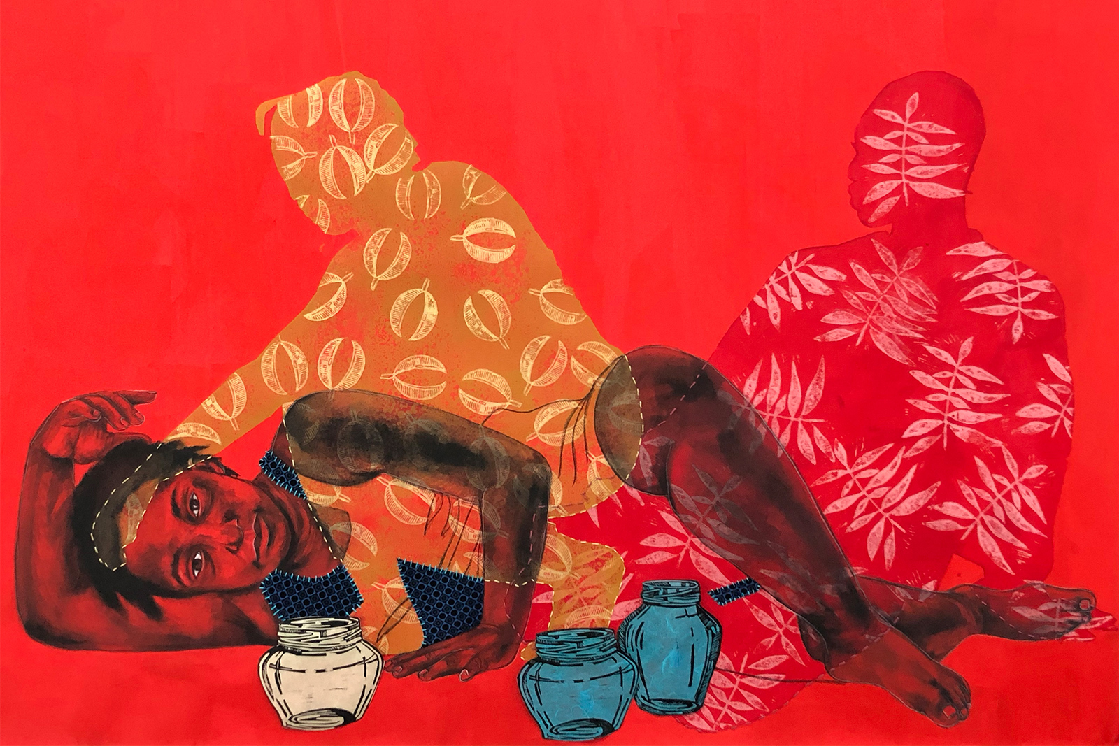 Delita Martin mixed media work amog shadows shows a figure reclining on her side while two human shillouhettes sit beside her
