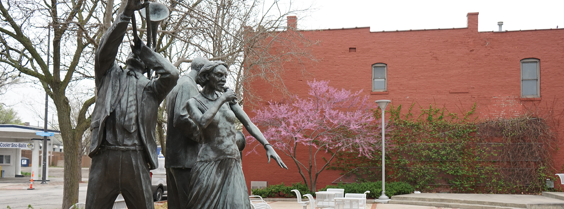 "The bronze statue ""Jazz Trio"" Littleton Alston in North Omaha's Dreamland Park."