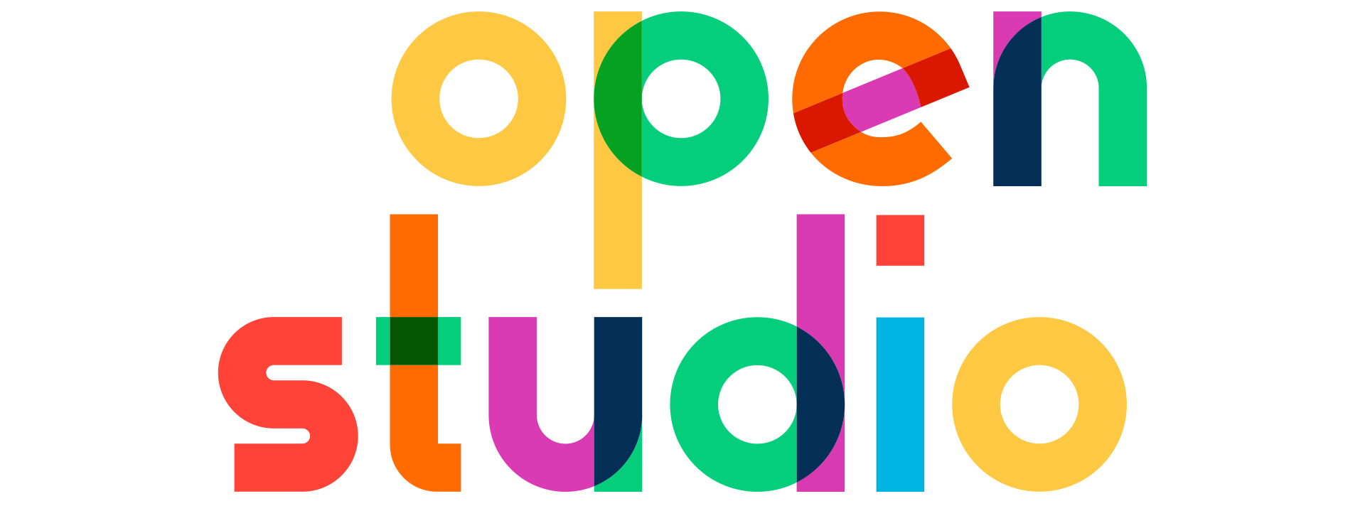 Open Studio Banner multicolor words Open Studio on white background