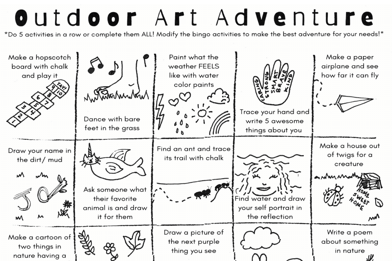 Outdoor art adventure bing card map inlcuding activities like make a paper airplane play hopscotch and draw a picture of your favorite animal