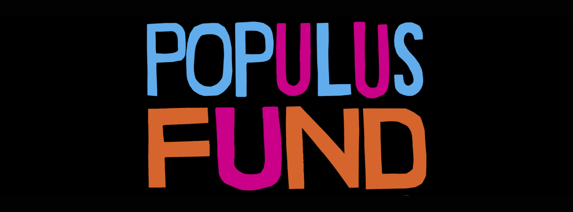 Populus Fund logo with the words in multi color letters against a black background