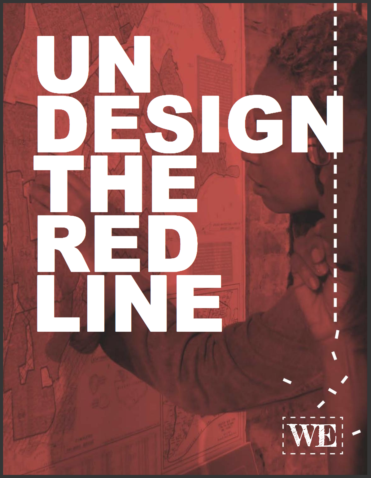 Undesign the Redline Logo, white text against a red background with designing the WE logo in the bottom corner.