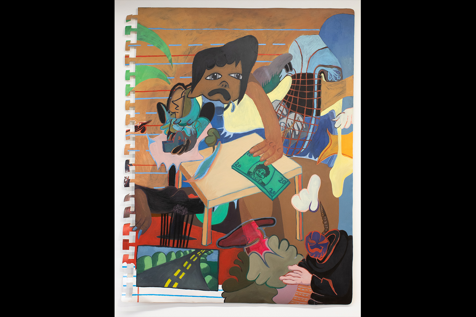 Thalia Rodgers - Abstract painting of figure holding $20 bill; headless figure sits in bottom right corner