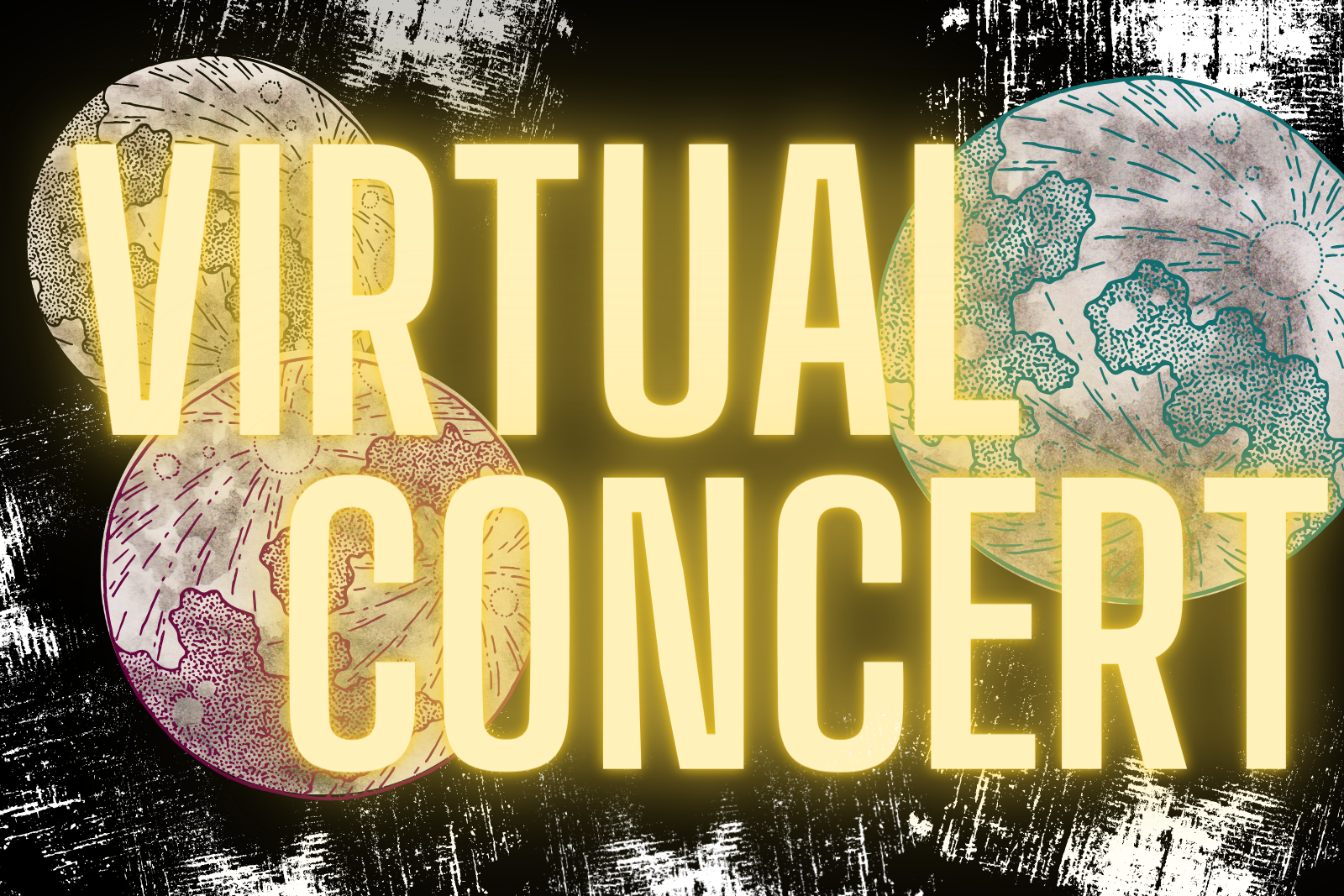Virtual Concert Graphic black background three moon images and the words 22 Virtual Concert22 in glowing yellow