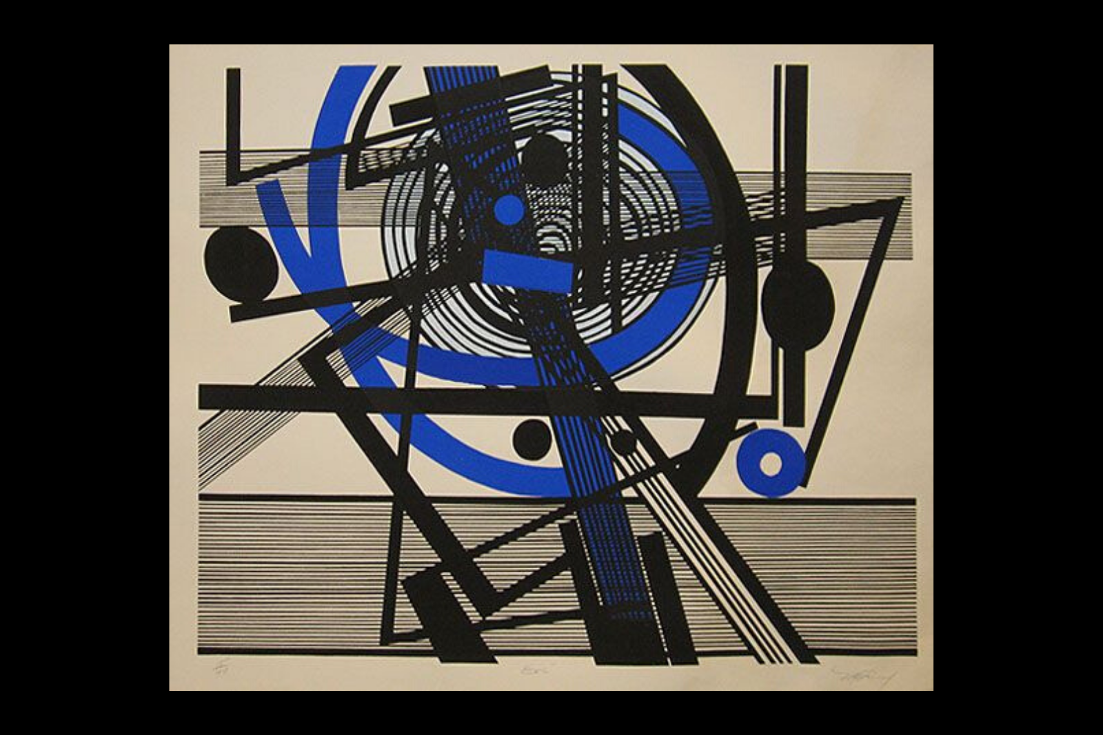 "Mavis Pusey's print ""Eric"" featuring blue and black lines intersecting and swirling in angular energy."