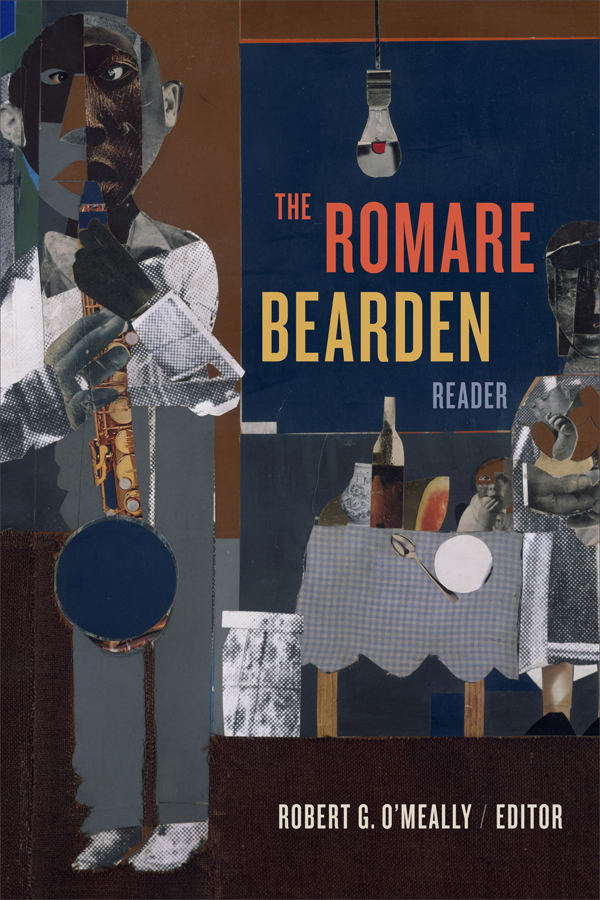 """Romare Bearden Reader cover image: Detail image of Bearden's 1069 collage work, """"The Woodshed."""" Male African American figure stands with saxophone in hand in front of a set table with seated woman."""